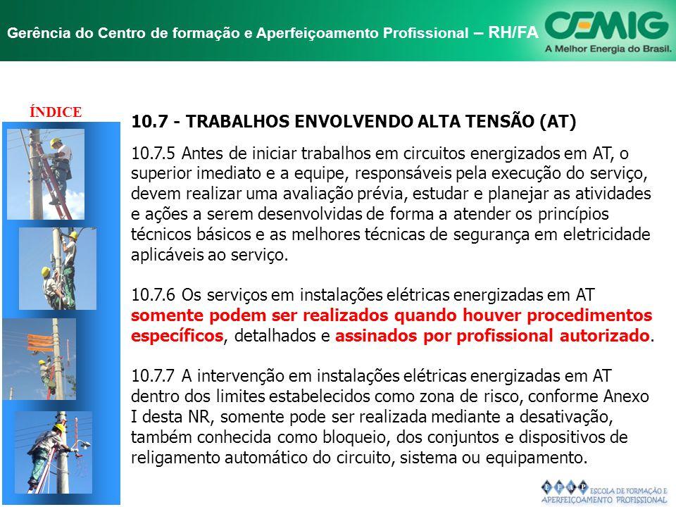 NR-10 SEGURANÇA EM INSTALAÇÕES E SERVIÇOS EM ELETRICIDADE Gerência do Centro de formação e Aperfeiçoamento Profissional – RH/FA DELIBERAÇÕES GT ABRADE