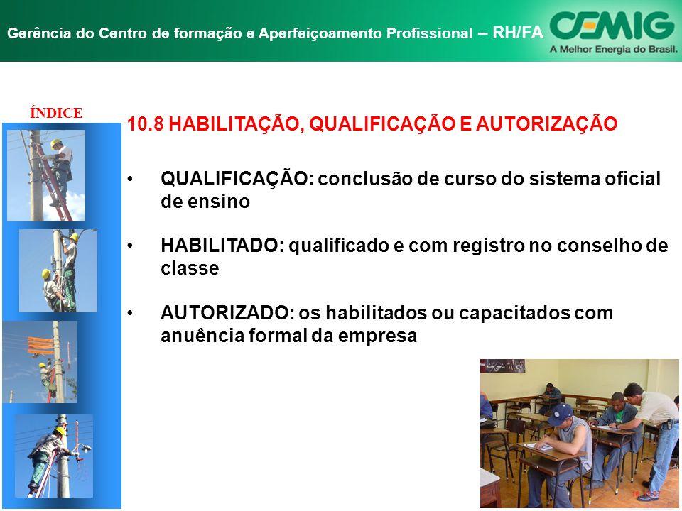 NR-10 SEGURANÇA EM INSTALAÇÕES E SERVIÇOS EM ELETRICIDADE Gerência do Centro de formação e Aperfeiçoamento Profissional – RH/FA TÍTULO 10.8 - HABILITA