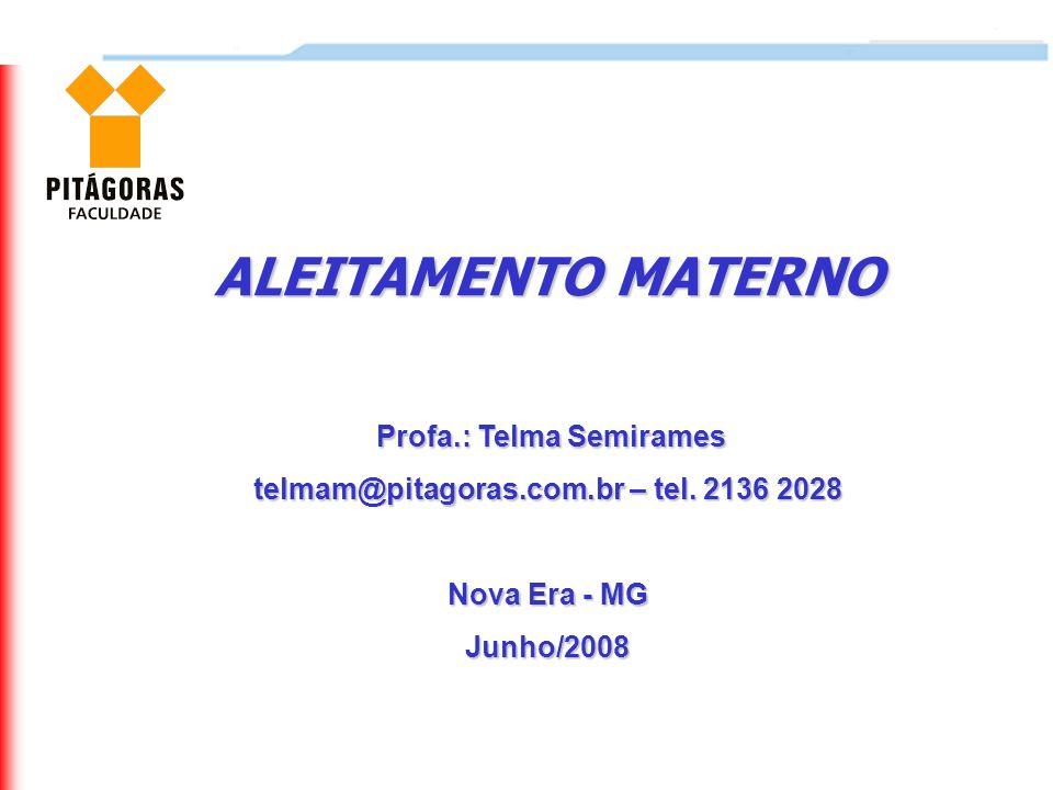 ALEITAMENTO MATERNO Profa.: Telma Semirames Profa.: Telma Semirames telmam@pitagoras.com.br – tel. 2136 2028 Nova Era - MG Junho/2008