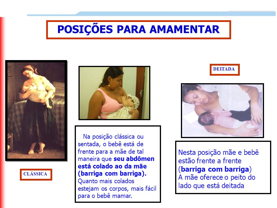 POSIÇÕES PARA AMAMENTAR CLÁSSICA DEITADA Na posição clássica ou sentada, o bebê está de frente para a mãe de tal maneira que seu abdômen está colado a