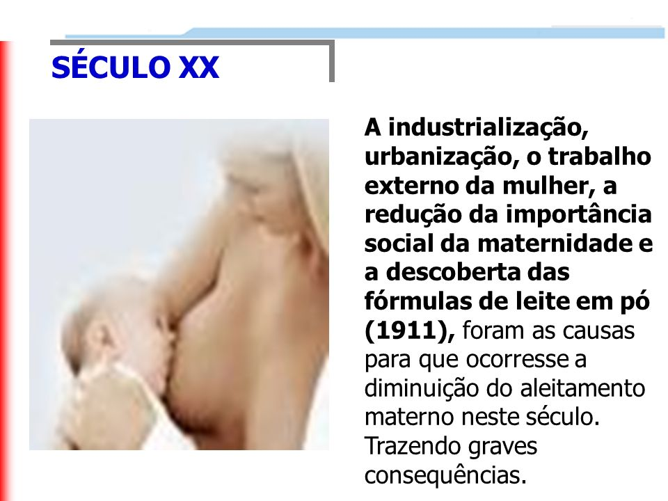 SÉCULO XX A industrialização, urbanização, o trabalho externo da mulher, a redução da importância social da maternidade e a descoberta das fórmulas de