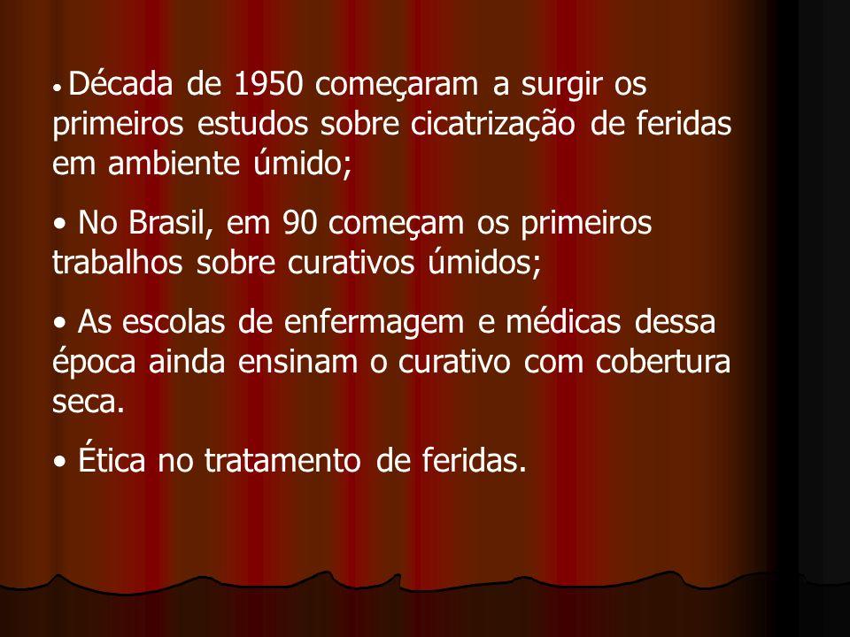 Década de 1950 começaram a surgir os primeiros estudos sobre cicatrização de feridas em ambiente úmido; No Brasil, em 90 começam os primeiros trabalho
