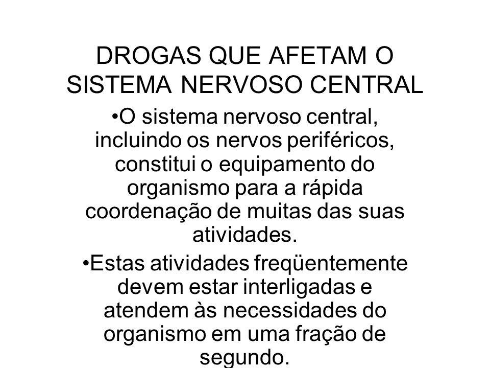 DROGAS QUE AFETAM O SISTEMA NERVOSO CENTRAL O sistema nervoso central, incluindo os nervos periféricos, constitui o equipamento do organismo para a rá