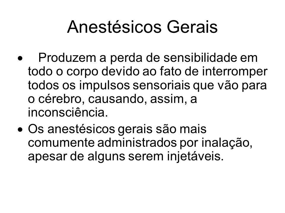 Anestésicos Gerais Produzem a perda de sensibilidade em todo o corpo devido ao fato de interromper todos os impulsos sensoriais que vão para o cérebro