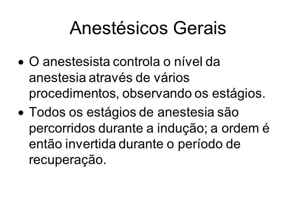 Anestésicos Gerais O anestesista controla o nível da anestesia através de vários procedimentos, observando os estágios. Todos os estágios de anestesia
