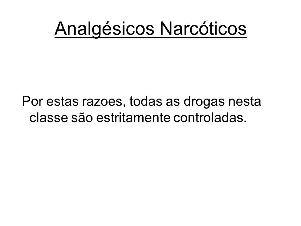 Analgésicos Narcóticos Por estas razoes, todas as drogas nesta classe são estritamente controladas.