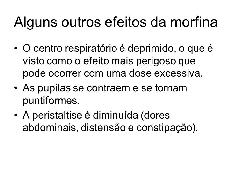 Alguns outros efeitos da morfina O centro respiratório é deprimido, o que é visto como o efeito mais perigoso que pode ocorrer com uma dose excessiva.
