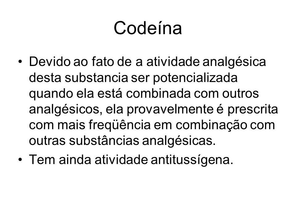 Codeína Devido ao fato de a atividade analgésica desta substancia ser potencializada quando ela está combinada com outros analgésicos, ela provavelmen
