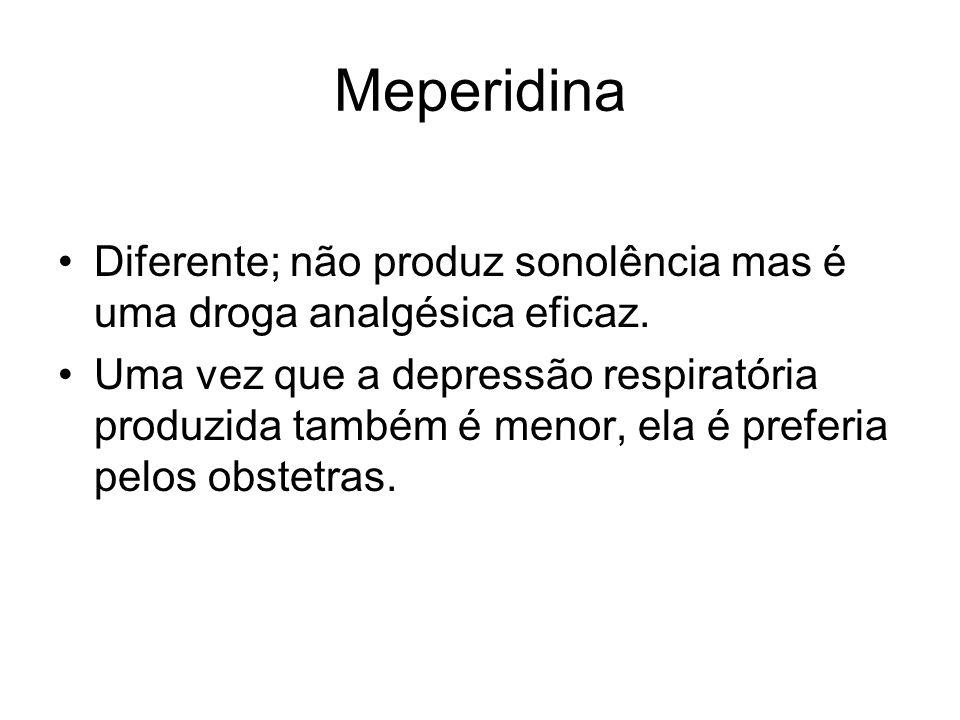 Meperidina Diferente; não produz sonolência mas é uma droga analgésica eficaz. Uma vez que a depressão respiratória produzida também é menor, ela é pr