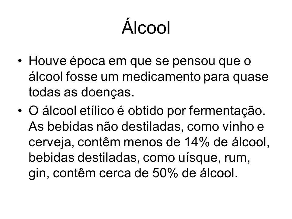 Álcool Houve época em que se pensou que o álcool fosse um medicamento para quase todas as doenças. O álcool etílico é obtido por fermentação. As bebid