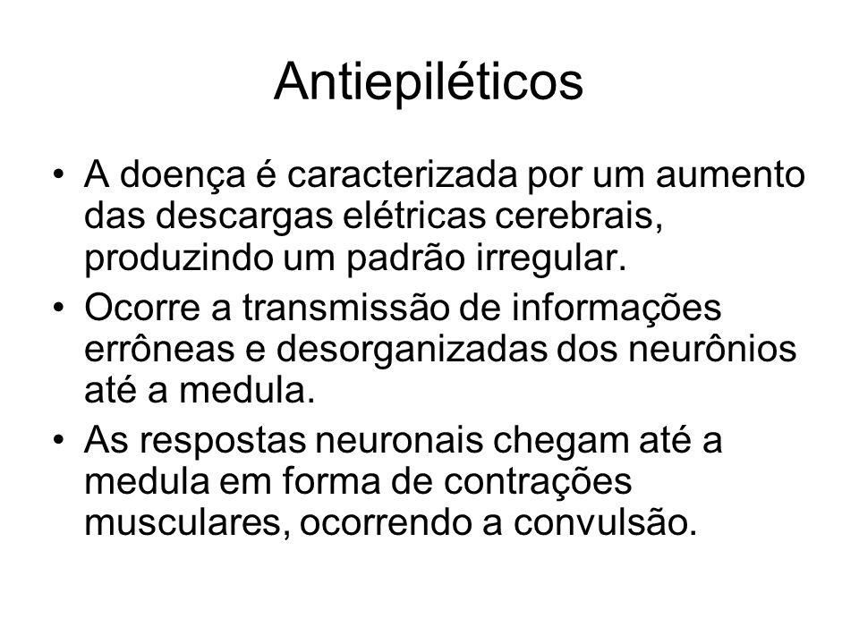 Antiepiléticos A doença é caracterizada por um aumento das descargas elétricas cerebrais, produzindo um padrão irregular. Ocorre a transmissão de info