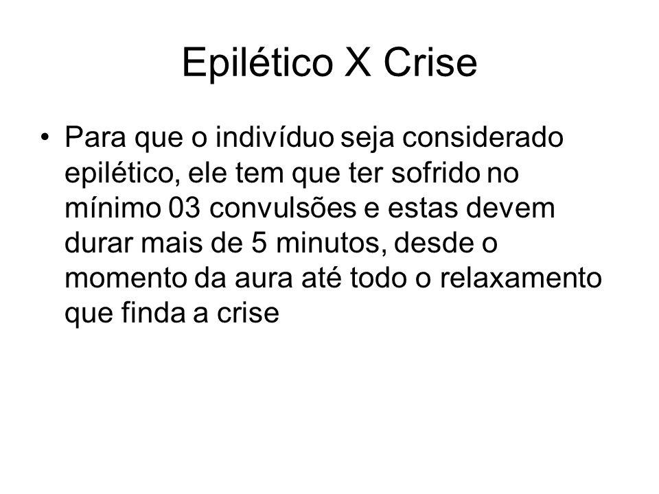 Epilético X Crise Para que o indivíduo seja considerado epilético, ele tem que ter sofrido no mínimo 03 convulsões e estas devem durar mais de 5 minut