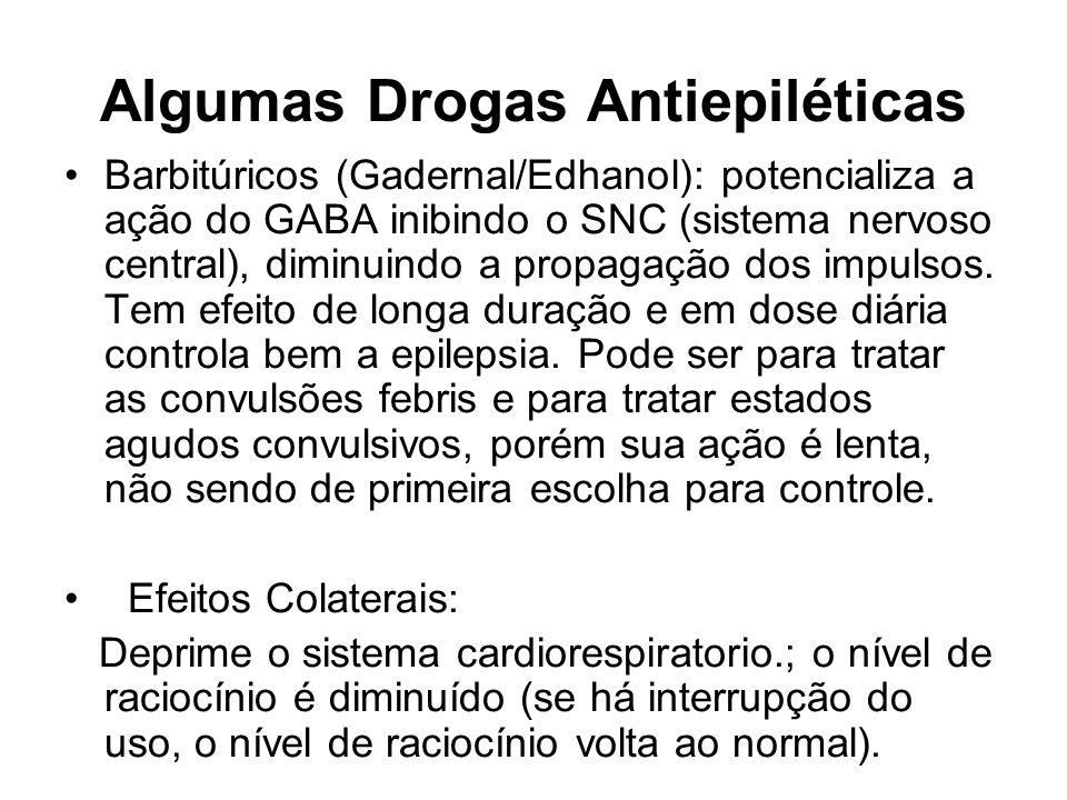 Algumas Drogas Antiepiléticas Barbitúricos (Gadernal/Edhanol): potencializa a ação do GABA inibindo o SNC (sistema nervoso central), diminuindo a prop