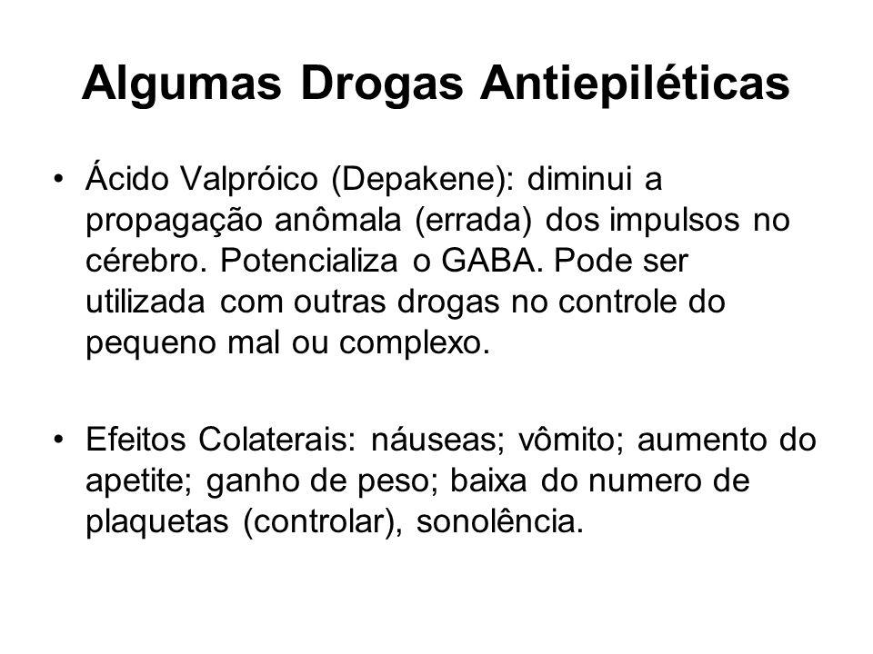 Algumas Drogas Antiepiléticas Ácido Valpróico (Depakene): diminui a propagação anômala (errada) dos impulsos no cérebro. Potencializa o GABA. Pode ser