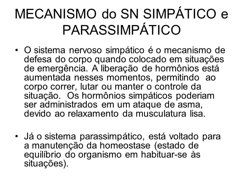 MECANISMO do SN SIMPÁTICO e PARASSIMPÁTICO O sistema nervoso simpático é o mecanismo de defesa do corpo quando colocado em situações de emergência. A