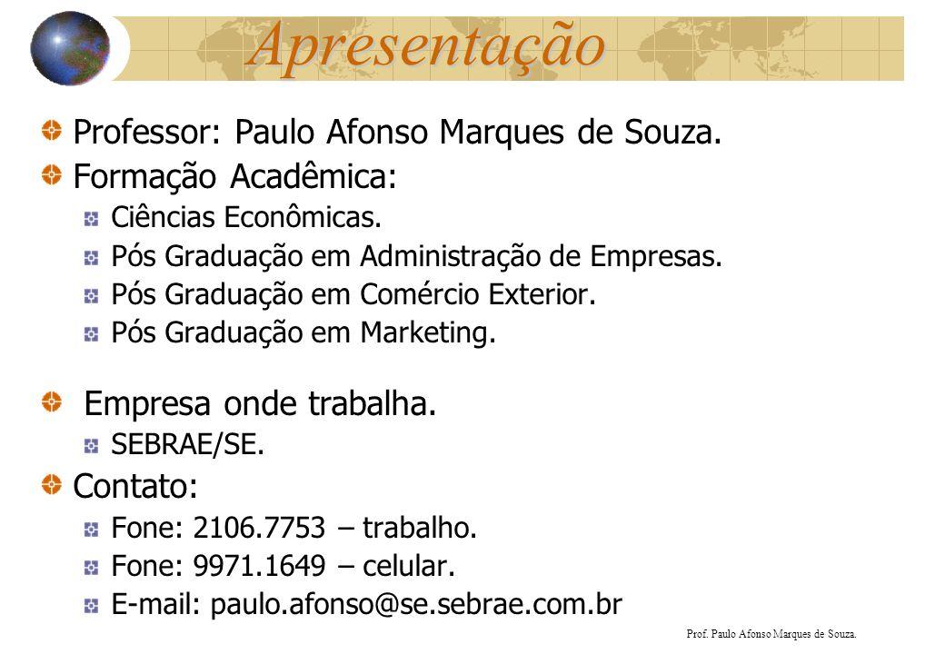 Apresentação Professor: Paulo Afonso Marques de Souza. Formação Acadêmica: Ciências Econômicas. Pós Graduação em Administração de Empresas. Pós Gradua