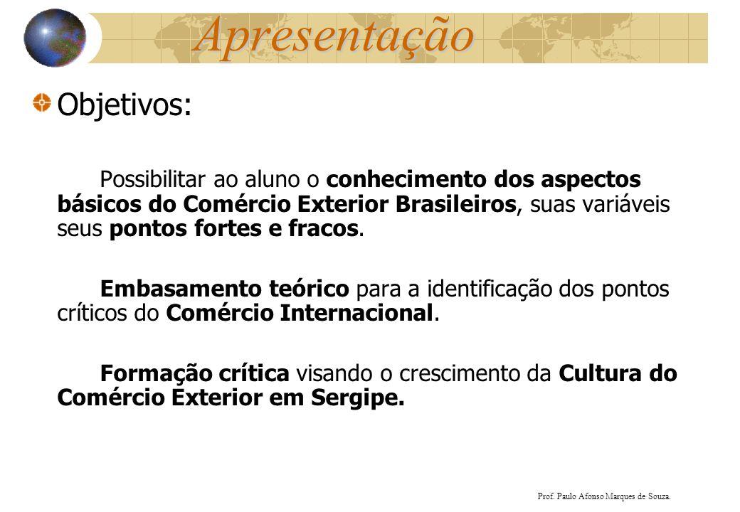 Apresentação Objetivos: Possibilitar ao aluno o conhecimento dos aspectos básicos do Comércio Exterior Brasileiros, suas variáveis seus pontos fortes
