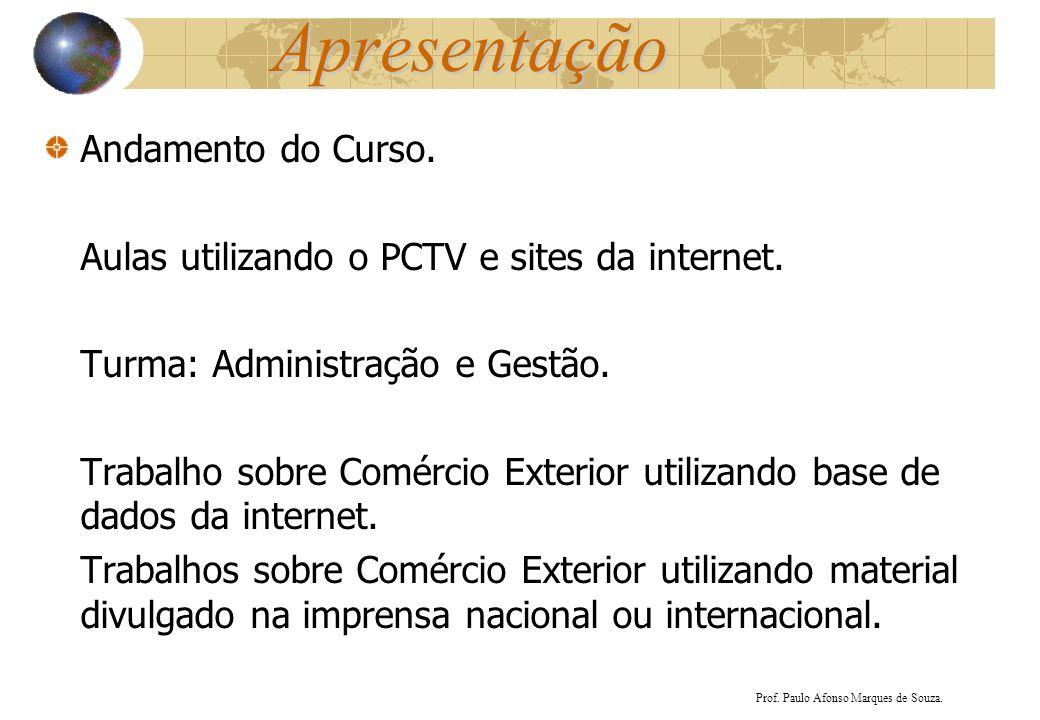 Apresentação Andamento do Curso. Aulas utilizando o PCTV e sites da internet. Turma: Administração e Gestão. Trabalho sobre Comércio Exterior utilizan