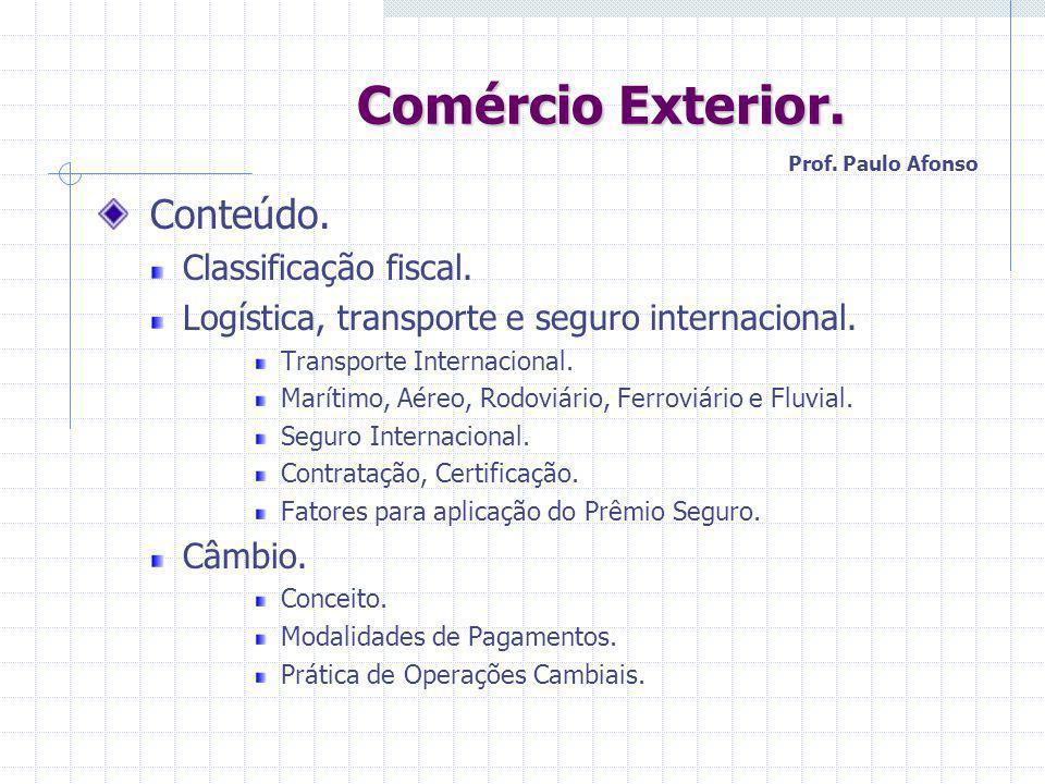 Comércio Exterior. Comércio Exterior. Conteúdo. Classificação fiscal. Logística, transporte e seguro internacional. Transporte Internacional. Marítimo