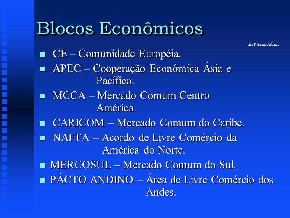 Blocos Econômicos n CE – Comunidade Européia. n APEC – Cooperação Econômica Ásia e Pacífico. n MCCA – Mercado Comum Centro América. n CARICOM – Mercad