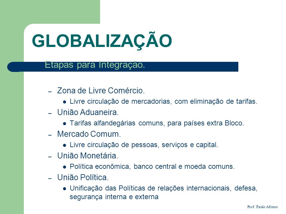 GLOBALIZAÇÃO Etapas para Integração. – Zona de Livre Comércio. Livre circulação de mercadorias, com eliminação de tarifas. – União Aduaneira. Tarifas