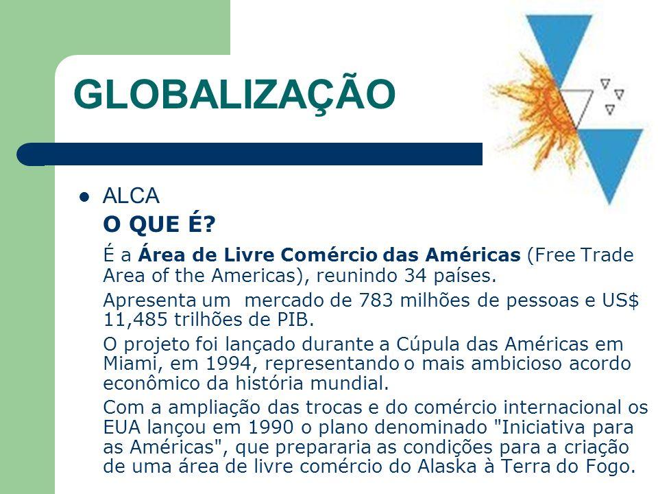 GLOBALIZAÇÃO ALCA O QUE É? É a Área de Livre Comércio das Américas (Free Trade Area of the Americas), reunindo 34 países. Apresenta um mercado de 783