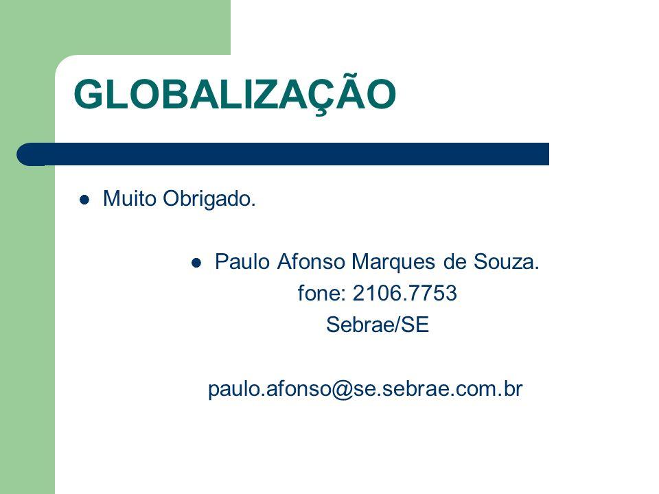 GLOBALIZAÇÃO Muito Obrigado. Paulo Afonso Marques de Souza. fone: 2106.7753 Sebrae/SE paulo.afonso@se.sebrae.com.br