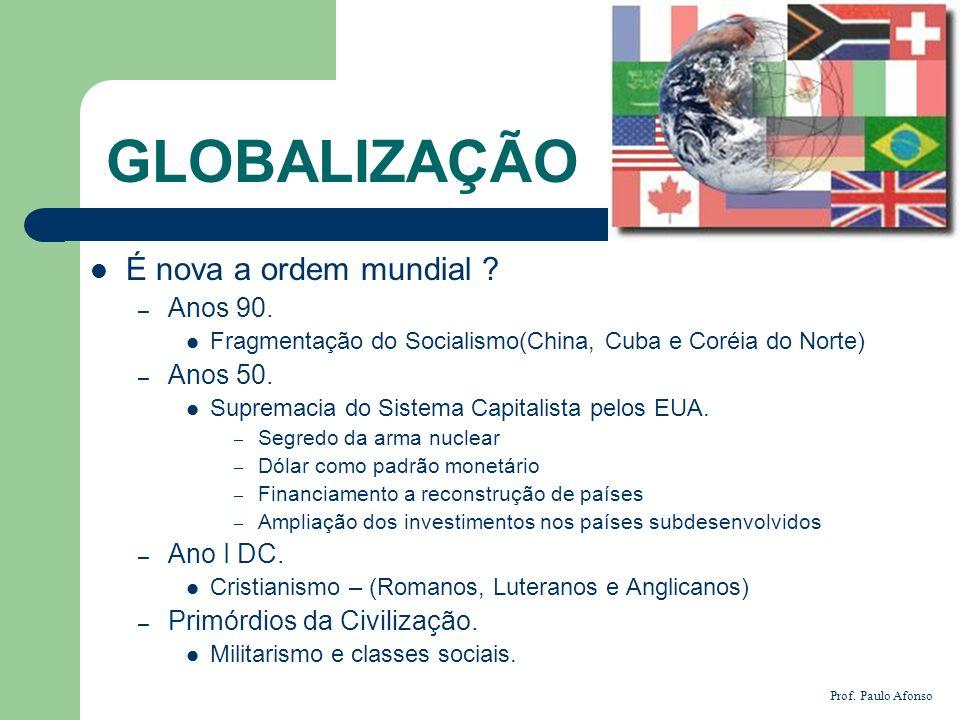 GLOBALIZAÇÃO É nova a ordem mundial ? – Anos 90. Fragmentação do Socialismo(China, Cuba e Coréia do Norte) – Anos 50. Supremacia do Sistema Capitalist