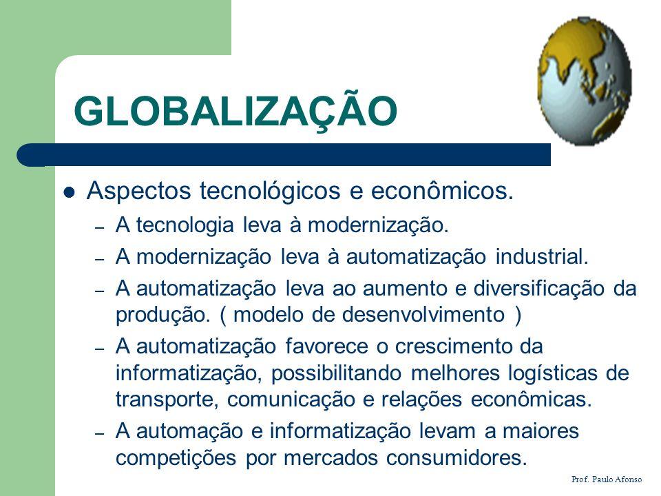 GLOBALIZAÇÃO Aspectos tecnológicos e econômicos. – A tecnologia leva à modernização. – A modernização leva à automatização industrial. – A automatizaç