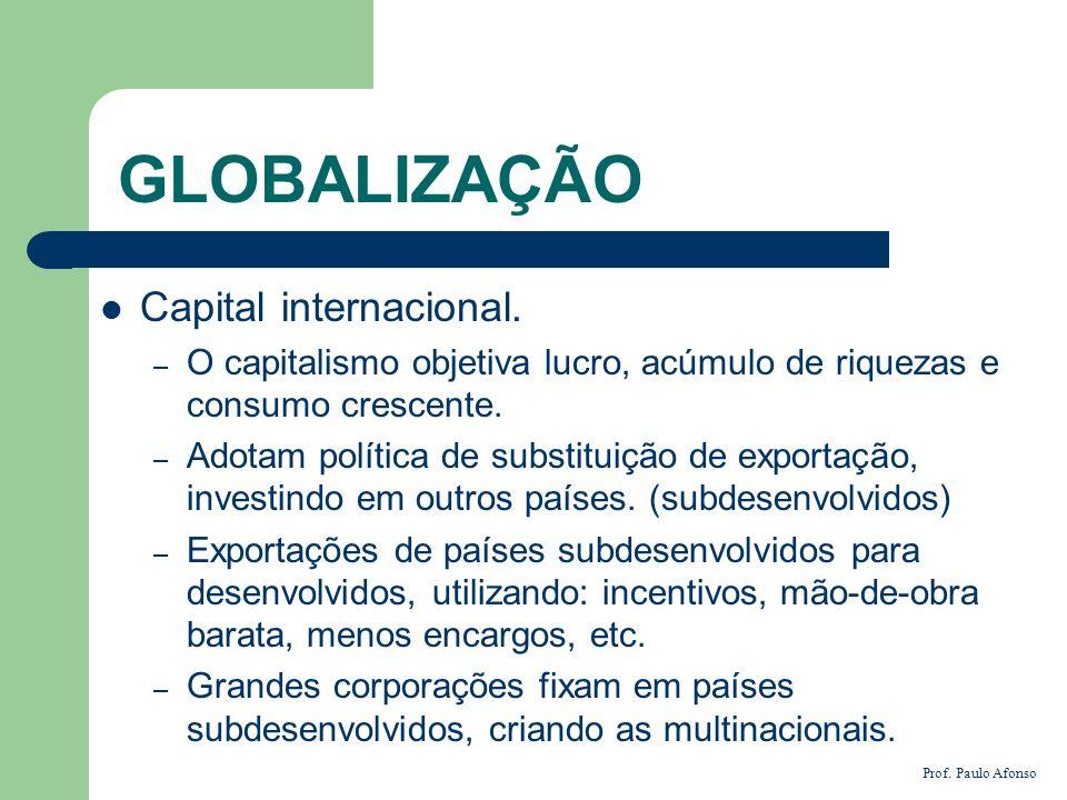 GLOBALIZAÇÃO Capital internacional. – O capitalismo objetiva lucro, acúmulo de riquezas e consumo crescente. – Adotam política de substituição de expo
