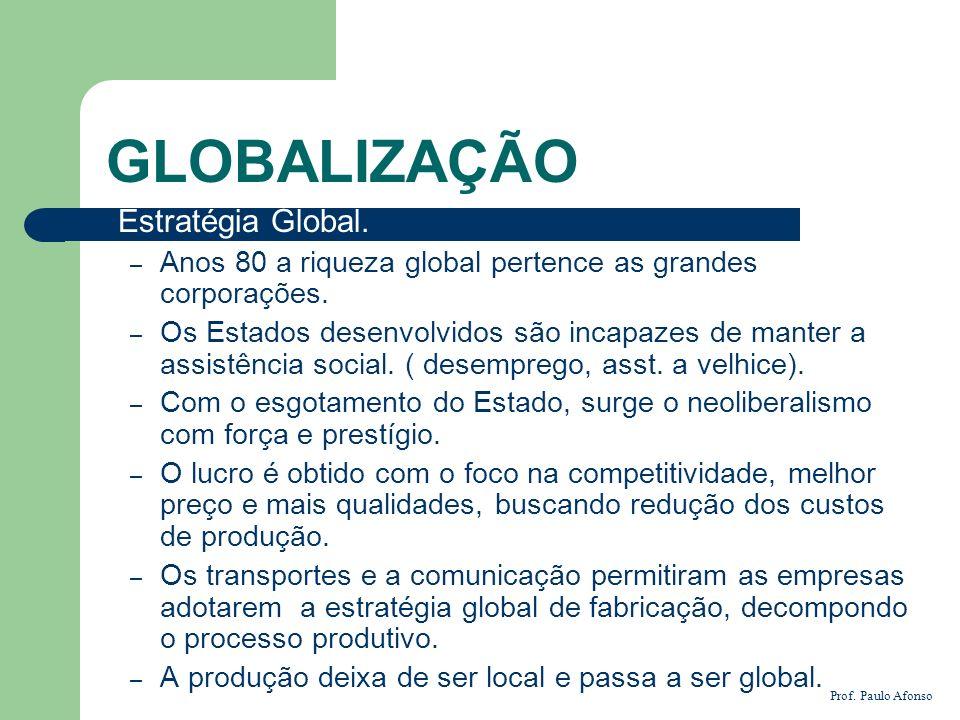 GLOBALIZAÇÃO Estratégia Global. – Anos 80 a riqueza global pertence as grandes corporações. – Os Estados desenvolvidos são incapazes de manter a assis