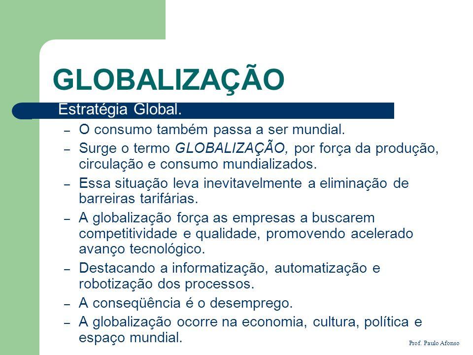 GLOBALIZAÇÃO Estratégia Global. – O consumo também passa a ser mundial. – Surge o termo GLOBALIZAÇÃO, por força da produção, circulação e consumo mund