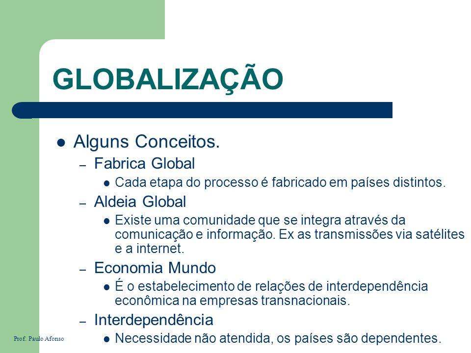 GLOBALIZAÇÃO Alguns Conceitos. – Fabrica Global Cada etapa do processo é fabricado em países distintos. – Aldeia Global Existe uma comunidade que se i