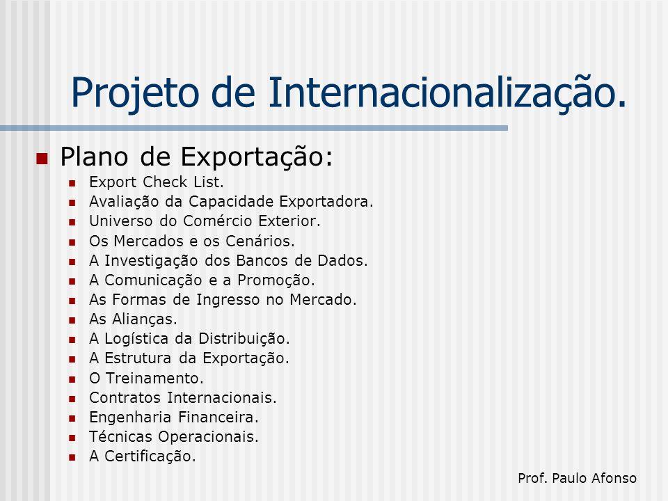 Projeto de Internacionalização. Plano de Exportação: Export Check List.