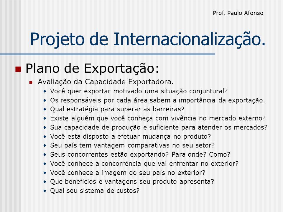 Projeto de Internacionalização. Plano de Exportação: Avaliação da Capacidade Exportadora.
