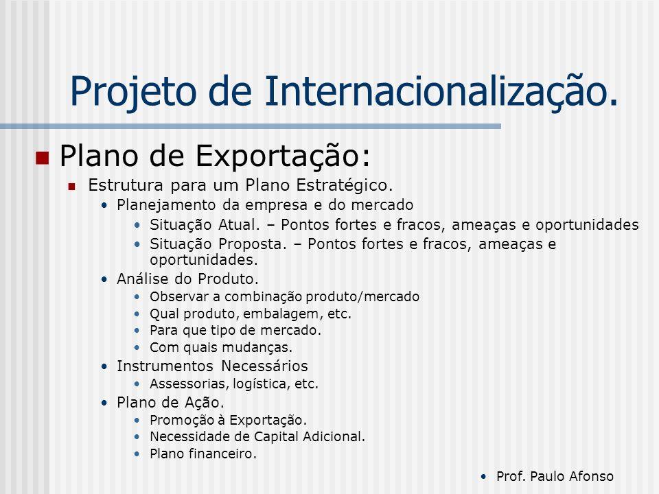 Projeto de Internacionalização. Plano de Exportação: Estrutura para um Plano Estratégico.
