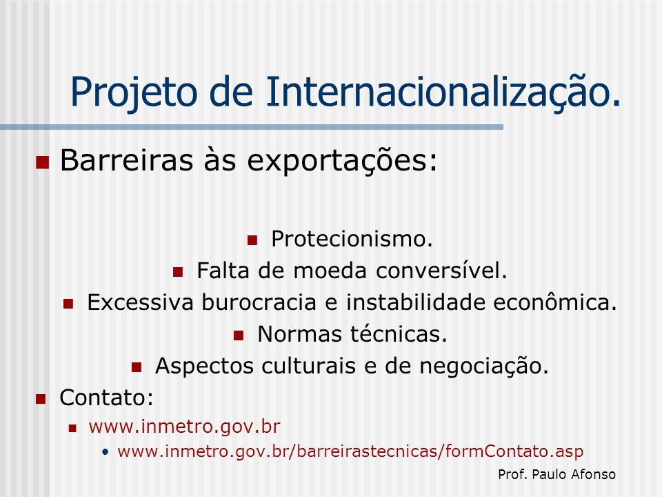 Projeto de Internacionalização. Barreiras às exportações: Protecionismo.