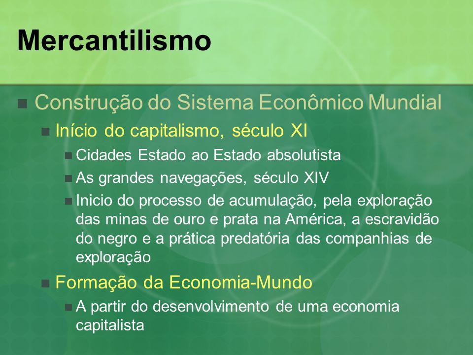 Mercantilismo Construção do Sistema Econômico Mundial Ampliação do mercado Século XI, a reconquista do Mediterrâneo pelas Cruzadas.