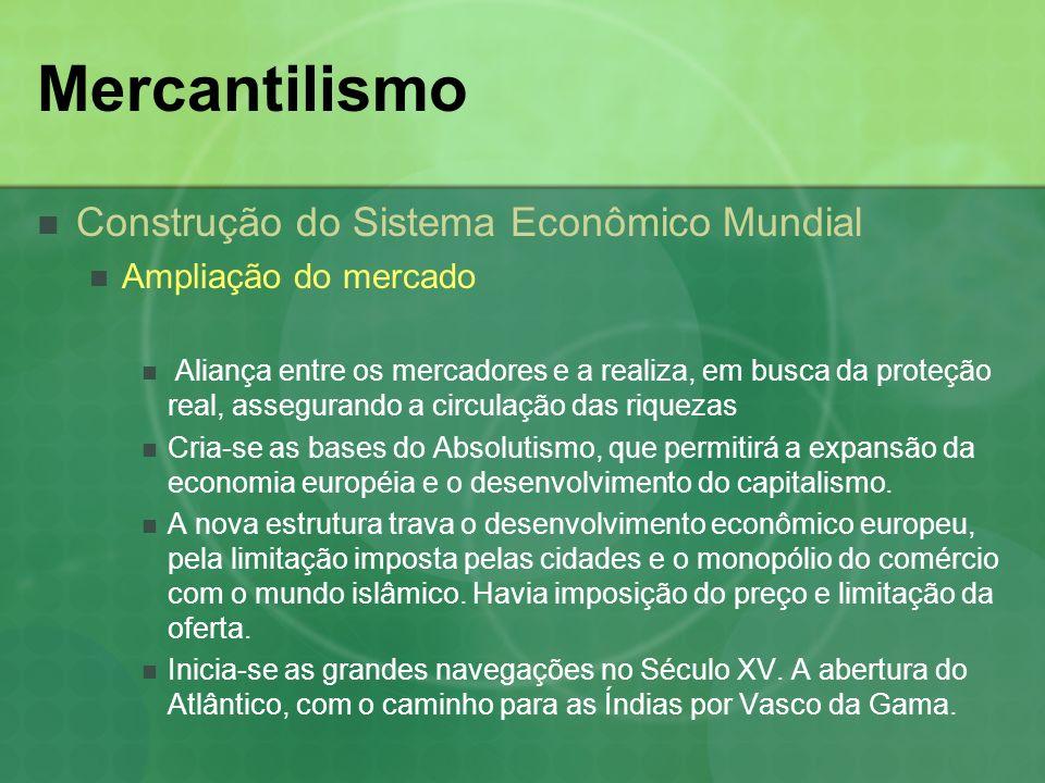 Mercantilismo Características do Mercantilismo Principais traços da política Monopólio Eram principalmente na exploração, transporte e comercialização.