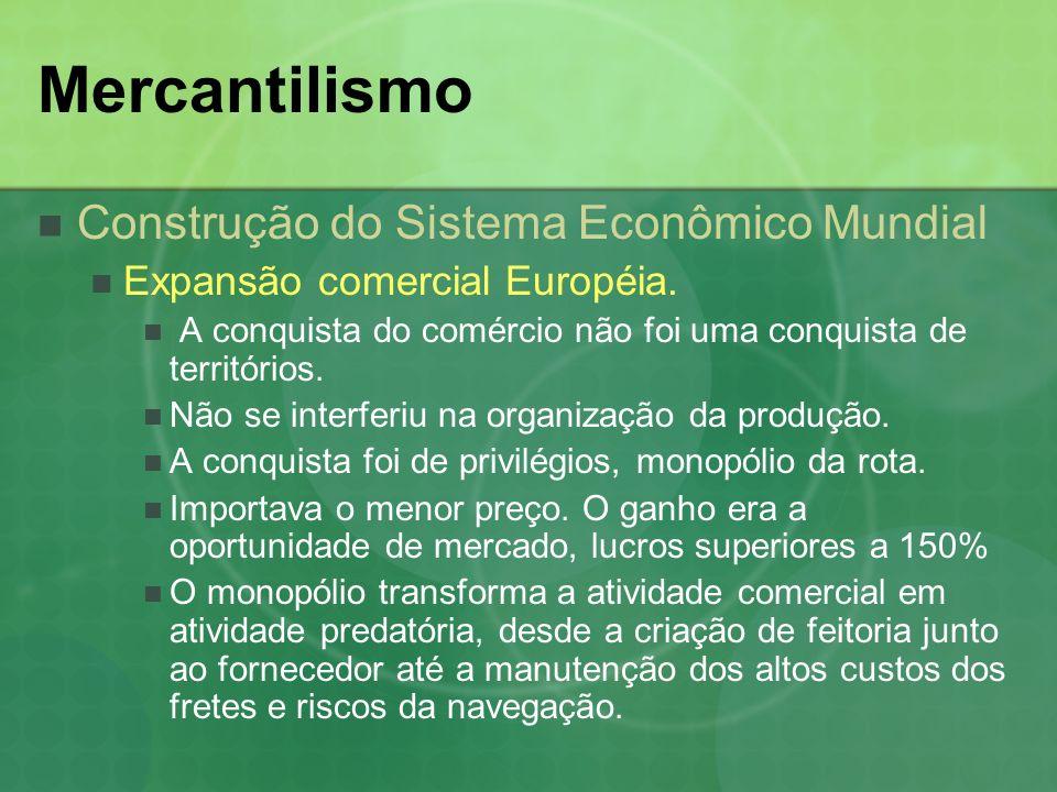 Mercantilismo Características do Mercantilismo Principais traços da política Colonialismo A economia da Colônia A colônia era organizada em função dos interesses da metrópole.