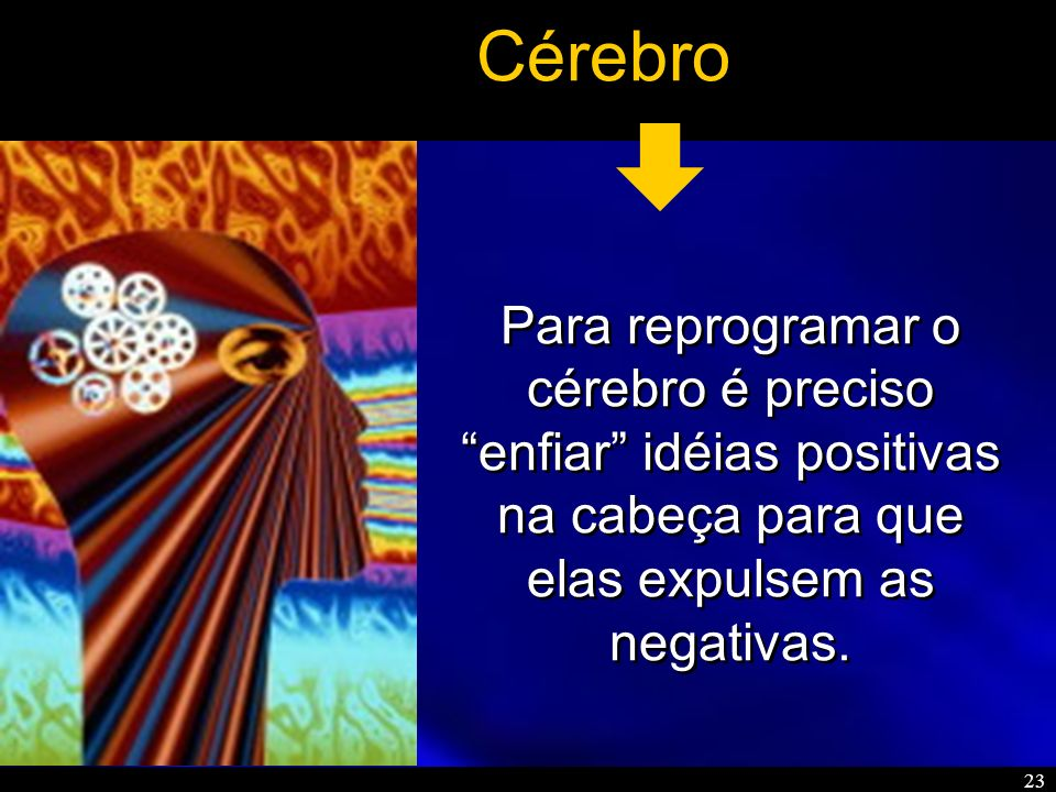 23 Cérebro Para reprogramar o cérebro é preciso enfiar idéias positivas na cabeça para que elas expulsem as negativas.