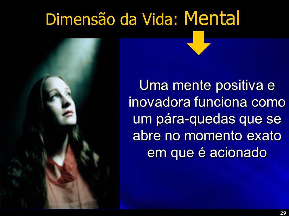 29 Dimensão da Vida: Mental Uma mente positiva e inovadora funciona como um pára-quedas que se abre no momento exato em que é acionado