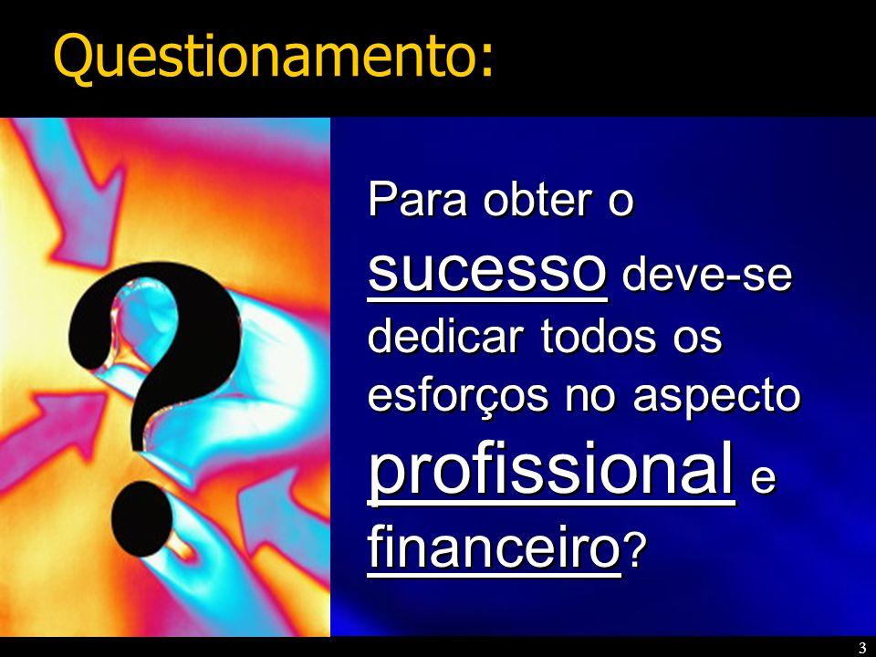 3 Para obter o sucesso deve-se dedicar todos os esforços no aspecto profissional e financeiro ? Questionamento: