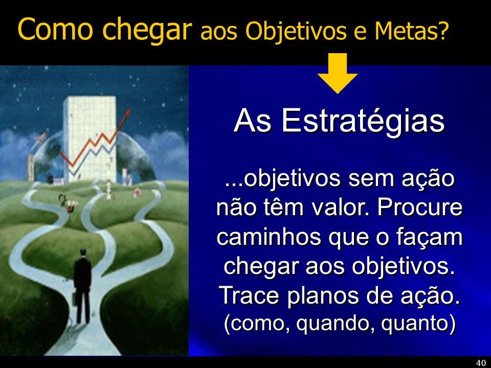 40 Como chegar aos Objetivos e Metas? As Estratégias...objetivos sem ação não têm valor. Procure caminhos que o façam chegar aos objetivos. Trace plan