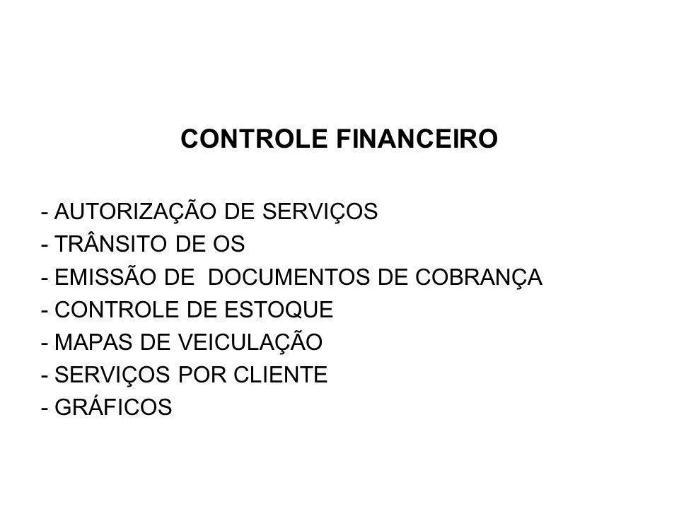CONTROLE FINANCEIRO - AUTORIZAÇÃO DE SERVIÇOS - TRÂNSITO DE OS - EMISSÃO DE DOCUMENTOS DE COBRANÇA - CONTROLE DE ESTOQUE - MAPAS DE VEICULAÇÃO - SERVIÇOS POR CLIENTE - GRÁFICOS