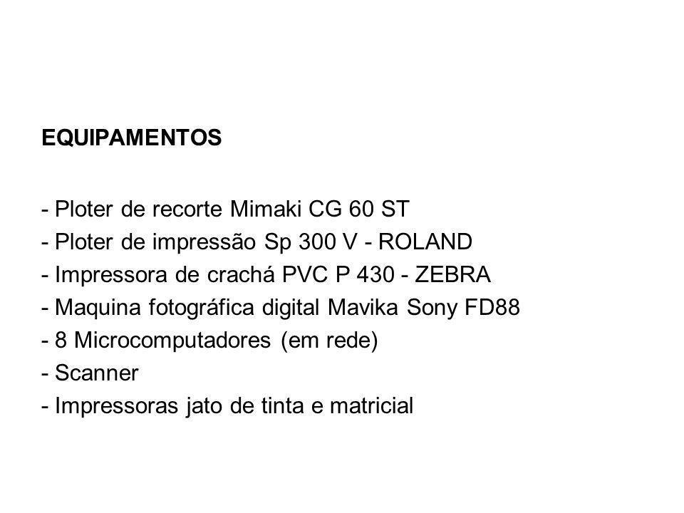 EQUIPAMENTOS - Ploter de recorte Mimaki CG 60 ST - Ploter de impressão Sp 300 V - ROLAND - Impressora de crachá PVC P 430 - ZEBRA - Maquina fotográfica digital Mavika Sony FD88 - 8 Microcomputadores (em rede) - Scanner - Impressoras jato de tinta e matricial