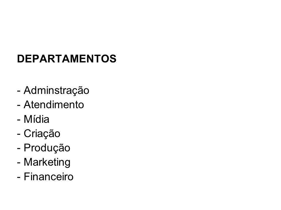 DEPARTAMENTOS - Adminstração - Atendimento - Mídia - Criação - Produção - Marketing - Financeiro