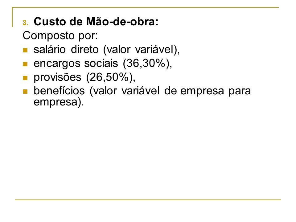 3. Custo de Mão-de-obra: Composto por: salário direto (valor variável), encargos sociais (36,30%), provisões (26,50%), benefícios (valor variável de e