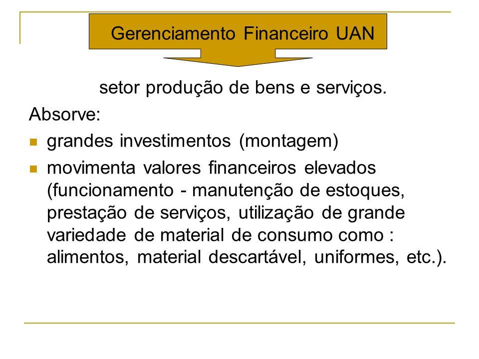 Gerenciamento Financeiro UAN setor produção de bens e serviços. Absorve: grandes investimentos (montagem) movimenta valores financeiros elevados (func