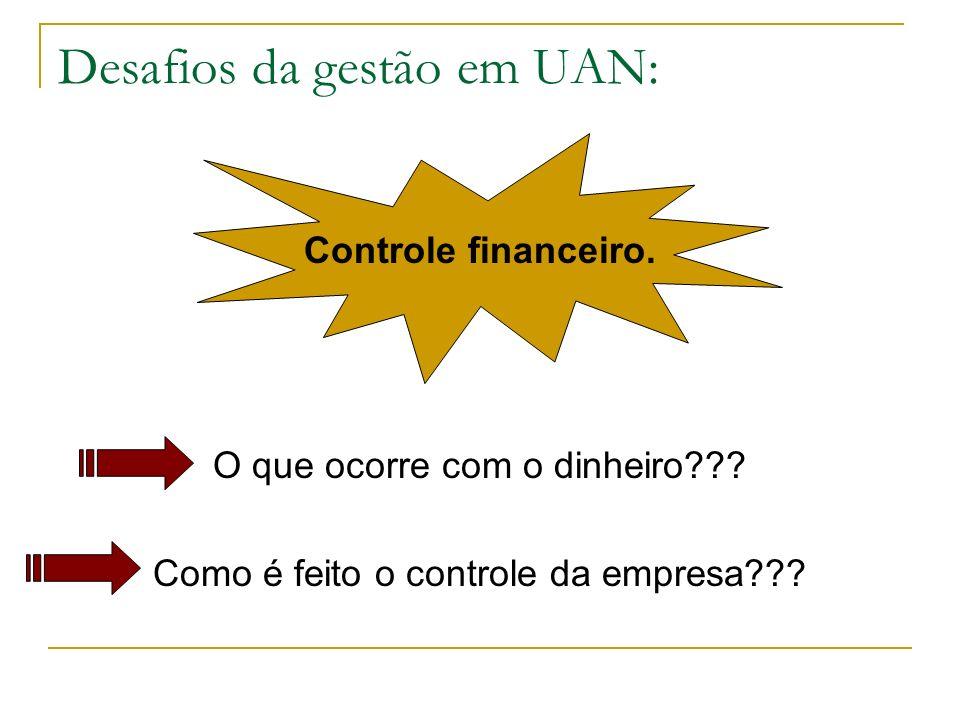 Desafios da gestão em UAN: Controle financeiro. O que ocorre com o dinheiro??? Como é feito o controle da empresa???